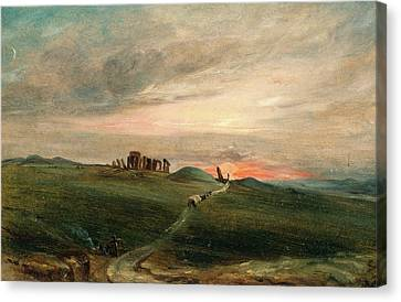 Stonehenge At Sunset, After John Constable Canvas Print by Litz Collection