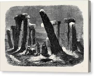 Stonehenge By Moonlight From The New Drama The Borgia Ring Canvas Print by English School
