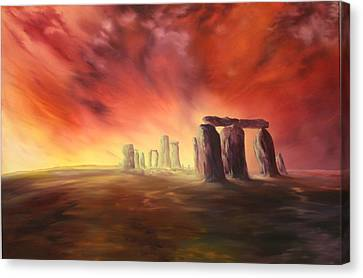 Canvas Print featuring the painting Stonehenge In Wiltshire by Jean Walker