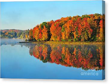 Fall Leaves Canvas Print - Stoneledge Lake Highway View by Terri Gostola