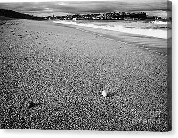 Stones And Pebbles On Ballycastle Beach In Winter County Antrim Northern Ireland Canvas Print