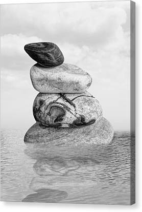 Balance In Life Canvas Print - Stones In Water Black And White by Gill Billington