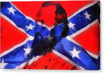 Stonewall Jackson On Confederate Flag Canvas Print by Dan Sproul