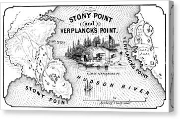 Stony Point Map, 1779 Canvas Print