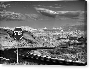 Stop Sign Canvas Print - Stop At The Badlands Bw by Mel Steinhauer