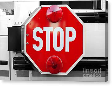 Stop Bw Red Sign Canvas Print by Andee Design
