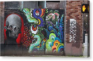Stop For Skull Mural Graffiti Canvas Print by Kym Backland