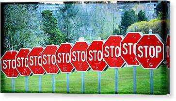Stop Sign Canvas Print - Stop by Fraida Gutovich