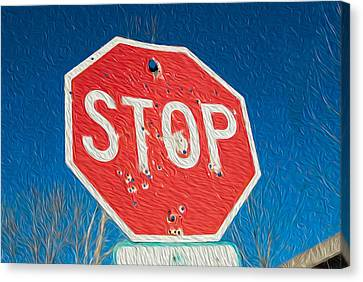Stop With Bullet Holes. Canvas Print