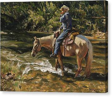 Trail Ride Canvas Print - Man On Horse Cooling Feet by Don  Langeneckert