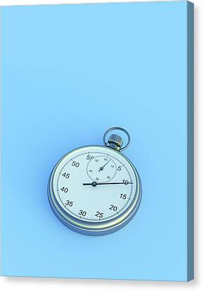 Stopwatch On Blue Background Canvas Print by David Parker