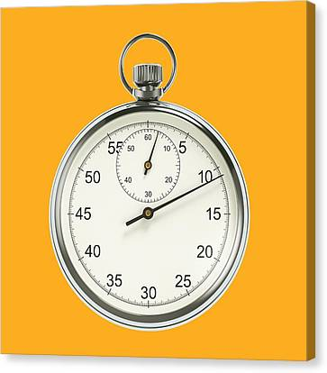 Stopwatch On Yellow Background Canvas Print by David Parker