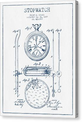 Stopwatch Patent Drawing From 1889 - Blue Ink Canvas Print
