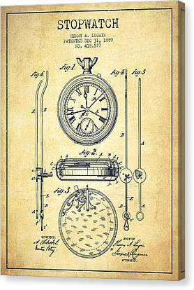 Stopwatch Patent Drawing From 1889 -vintage Canvas Print