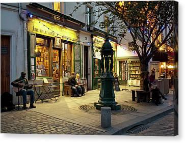 Store At Dusk, Paris, Ile-de-france Canvas Print