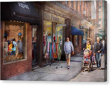 Store Front - Hoboken Nj - People Canvas Print by Mike Savad