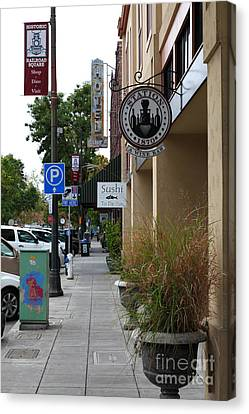 Storefronts In Historic Railroad Square Area Santa Rosa California 5d25806 Canvas Print by Wingsdomain Art and Photography