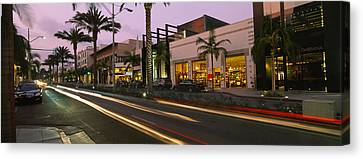Stores On The Roadside, Rodeo Drive Canvas Print by Panoramic Images