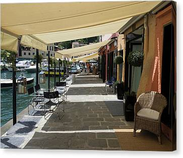 Stores With Awnings, Portofino Canvas Print