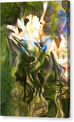 Canvas Print featuring the digital art Stork In The Music Garden by Richard Thomas