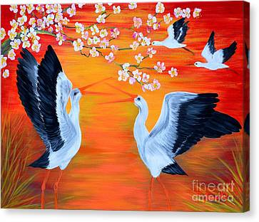 Storks And Cherry Blossom Canvas Print