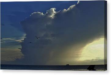 Canvas Print featuring the photograph Storm Across Delaware Bay by Ed Sweeney