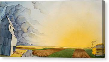 School Bus Canvas Print - Storm And Sunset II by Scott Kirby