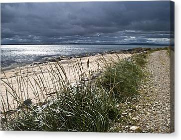 Canvas Print featuring the photograph Storm Arising Dornoch Beach Scotland by Sally Ross