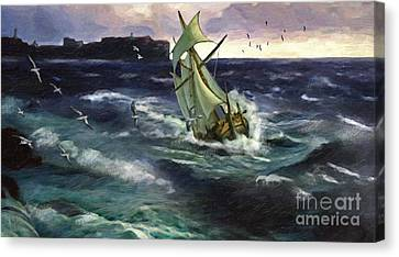 Storm At Dubrovnik Canvas Print by Lianne Schneider