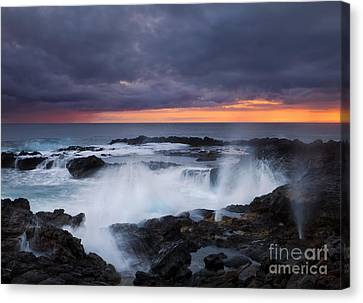 Blowhole Canvas Print - Storm Boil by Mike Dawson