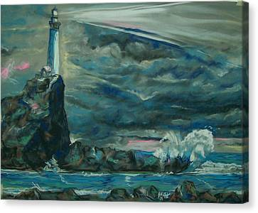 Canvas Print featuring the pastel Storm Breaking by Peter Suhocke