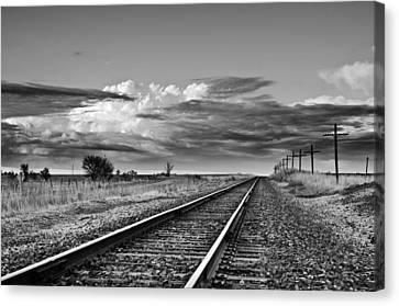 Storm Cloud Above Rail Road Tracks Canvas Print