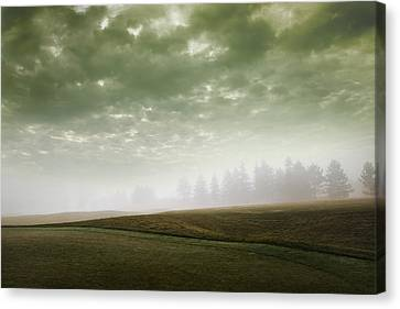 Storm Clouds And Foggy Hills Canvas Print by Vast Photography