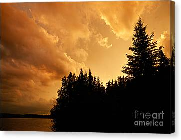 Storm Clouds At Sunset Canvas Print by Larry Ricker
