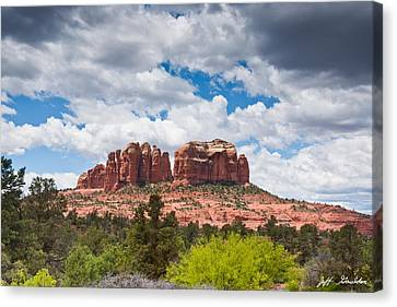 Canvas Print featuring the photograph Storm Clouds Over Cathedral Rocks by Jeff Goulden