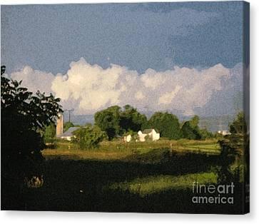 Storm Clouds Over Michigan Farm At Sunrise Canvas Print