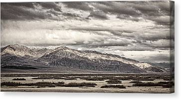 Storm Clouds Over Snowy Peaks #2 - Black And White Canvas Print by Stuart Litoff
