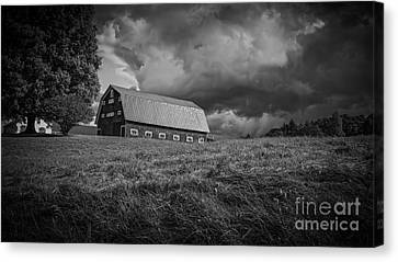 Barn Storm Canvas Print - Storm Clouds Over The Farm by Edward Fielding