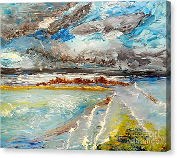 Storm Coming At Austinmer Beach Canvas Print by Pamela  Meredith