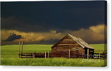 Barn Storm Canvas Print - Storm Crossing Prairie 2 by Robert Frederick