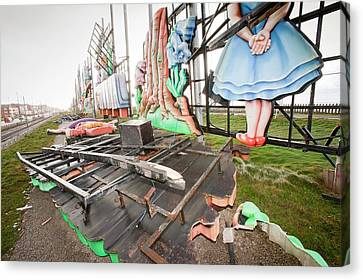 Storm Damage To Blackpool Illuminations Canvas Print by Ashley Cooper