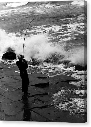 Canvas Print featuring the photograph Storm Fishing by Travis Burgess