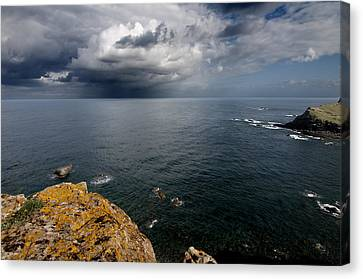 A Mediterranean Sea View From Sa Mesquida In Minorca Island - Storm Is Coming To Island Shore Canvas Print by Pedro Cardona
