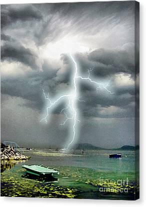 Storm On Balaton Lake Canvas Print by Odon Czintos