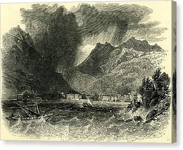 Storm On Lake Como Italy Canvas Print by Italian School