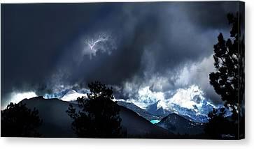 Storm On Long's Peak Canvas Print by Ric Soulen