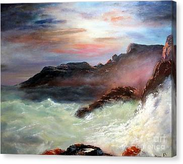 Storm On Mount Desert Island Canvas Print by Lee Piper