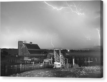 Cattle Run Canvas Print - Storm On The Farm In Black And White by James BO  Insogna