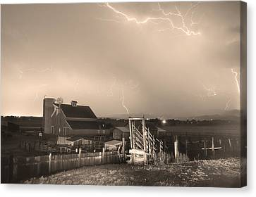 Cattle Run Canvas Print - Storm On The Farm In Black And White Sepia by James BO  Insogna
