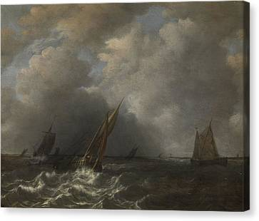 Storm On The Meuse River Canvas Print by Litz Collection
